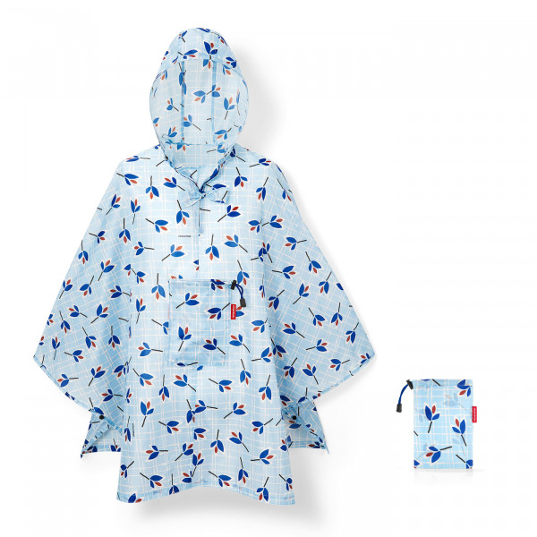 mini maxi poncho leaves blue