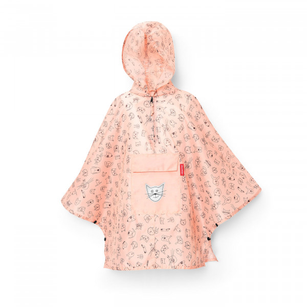 mini maxi poncho M kids cats and dogs rose