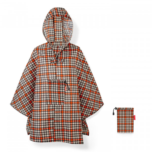 mini maxi poncho glencheck red
