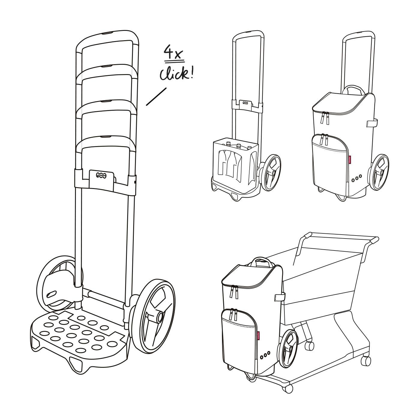 Bag citycruiser Rack 7051 DEDFZJ Einkaufstrolley mit Flaschentasche Mixed dots bottlebag 3in1 Set